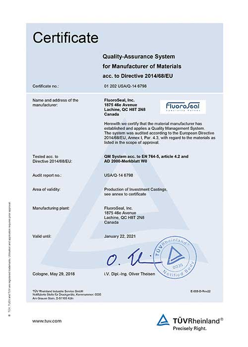 AD 2000 Merkblatt W0 certificate FluoroSeal