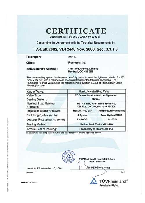 TA Luft 2002 certificate FluoroSeal