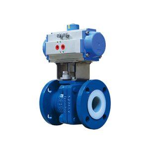 lined ball valve pneumatic actuator FluoroSeal
