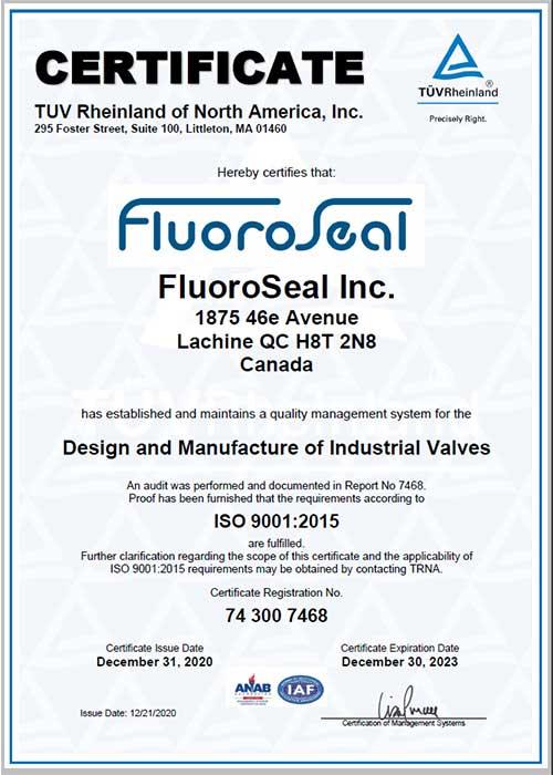 ISO 9001 2015 certificate FluoroSeal 2023